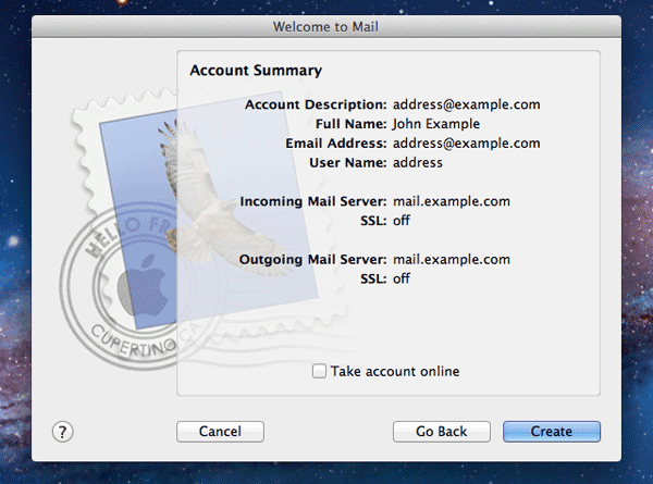 Account Summary page in Mac Mail