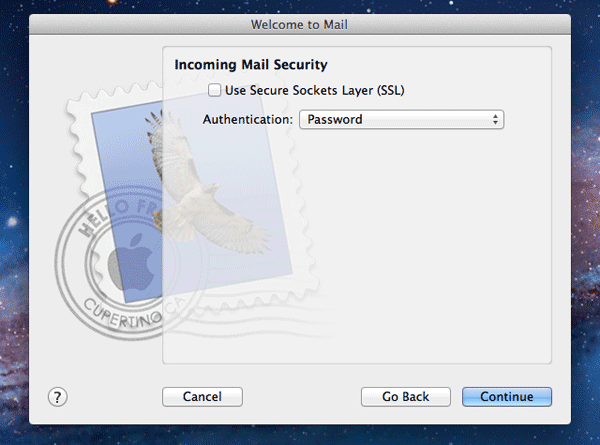 Incoming mail security settings for Mac Mail