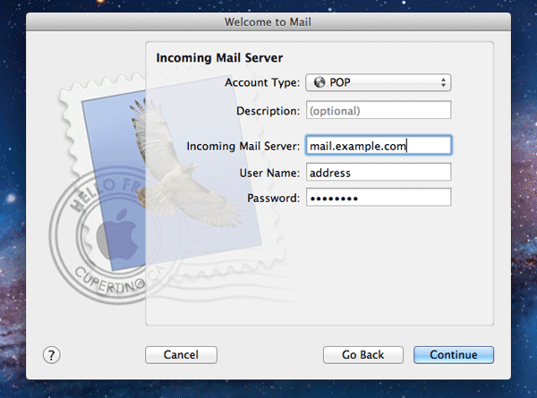 Incoming server settings for Mac Mail