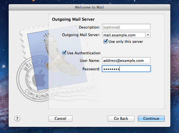 Outgoing server settings in Mac Mail