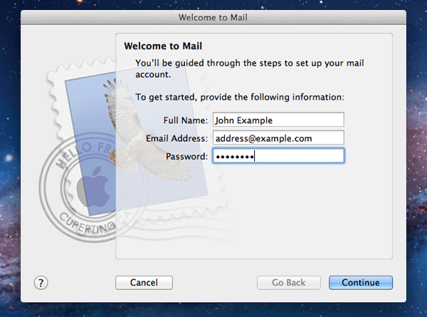 Welcome screen in Mac Mail
