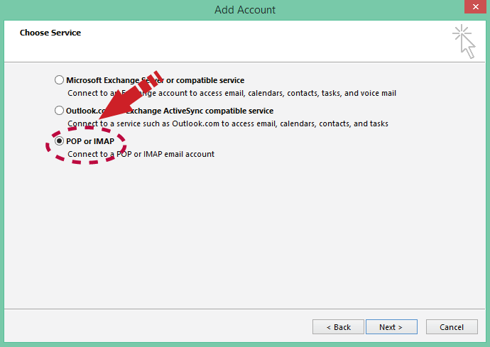 How do I set up a secure POP email account in Outlook