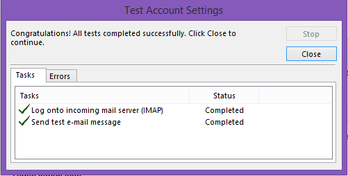 How do I set up a secure IMAP email account in Outlook
